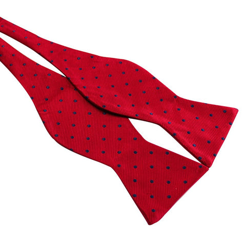 Tie Your Own Bow Tie - Red with Navy Polka Dot