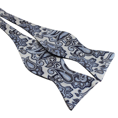 Tie Your Own Bow Tie - Blue and White Paisley