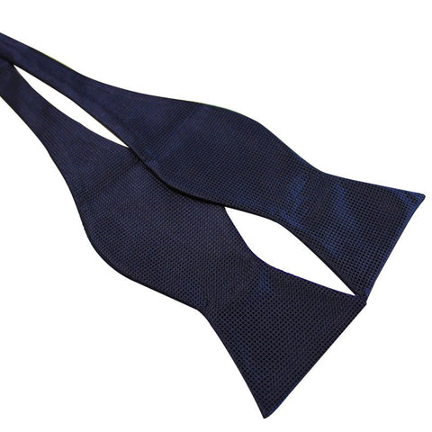 Tie Your Own Bow Tie - Midnight Navy Grid Patterned