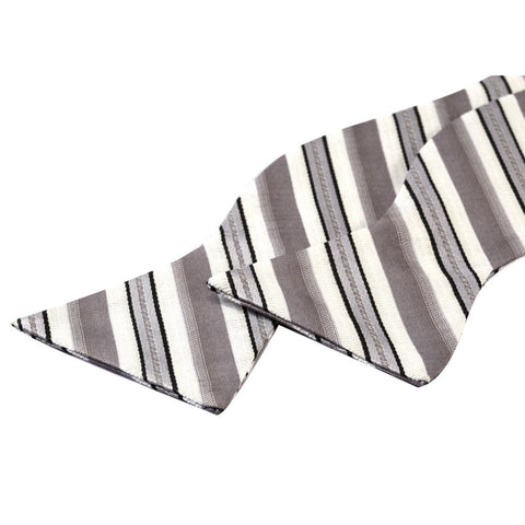 Tie Your Own Bow Tie - Grey and White Striped