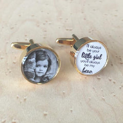 Gold Round Printed Cufflinks
