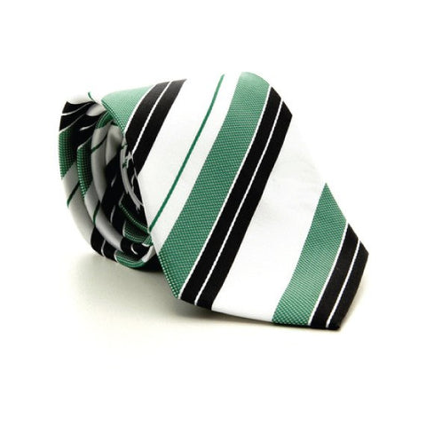 Green Polyester Striped Tie
