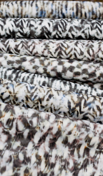 Carley Kahn upholstery fabrics. All patterns and coloways side by side on bolts.