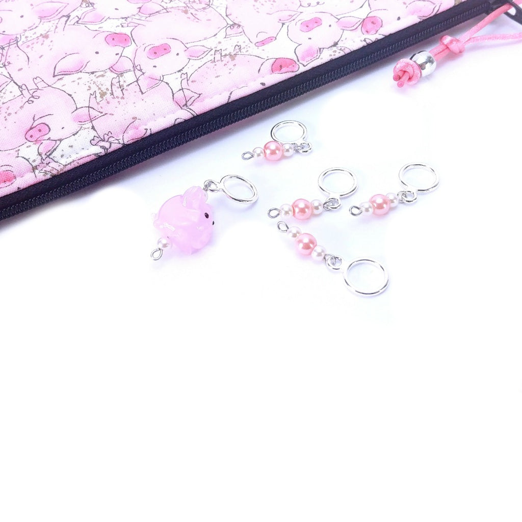 Stitch Markers - This Little Piggy:Stitch Markers,Slipped Stitch Studios:Slipped Stitch Studios