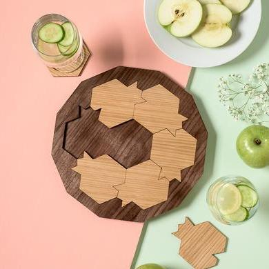 Rosh Hashanah Pomegranate Serving Tray and Coasters