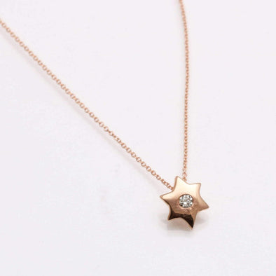 Star of David Diamond Pendant in 14k Gold, Rose Gold or White Gold