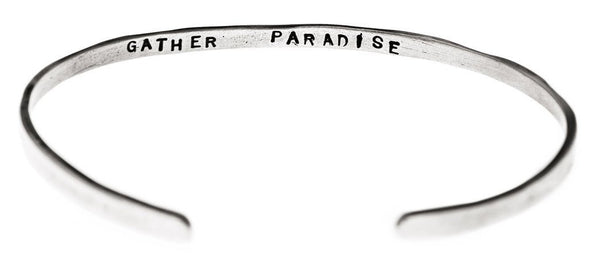 """Gather Paradise"" Cuff Bracelet in Silver - Emily Dickinson ""I Dwell in Possibility"" by Marla Studio - ModernTribe - 2"