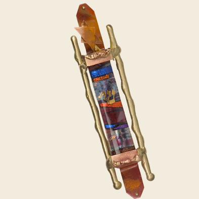Classic Glass and Brass Mezuzah by Gary Rosenthal