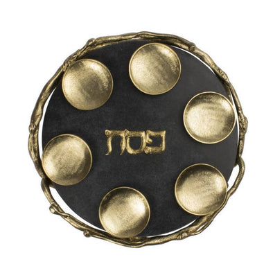 Black and Gold Marble Seder Plate