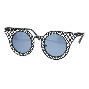 New Womens Metal Wire Weave Cat Eye Unique Runway Designer Fashion Sunglasses