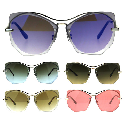 Womens Squared Butterfly Oversize Rimless Designer Sunglasses