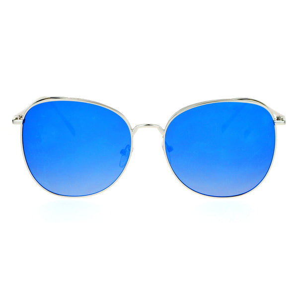 SA106 Womens Color Mirrored Minimal Thin Metal Large Butterfly Sunglasses