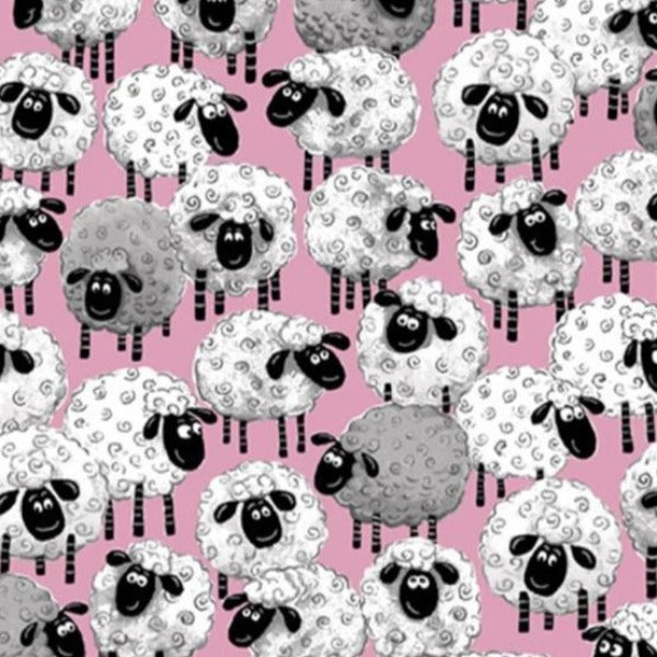 Susybee's Lewe Allover Sheep Pink Fabric to sew