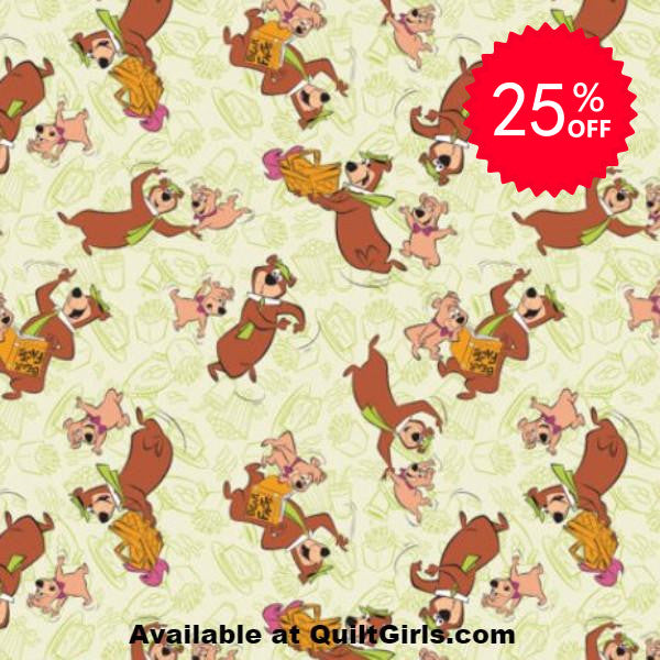 Yogi Bear and Boo Boo Bear Toss Fabric to sew - QuiltGirls®