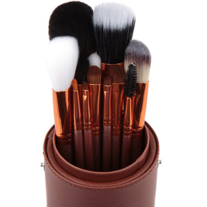 Complete Bronze Make Up Brush Pot - 12 Piece - Beau Belle Brushes