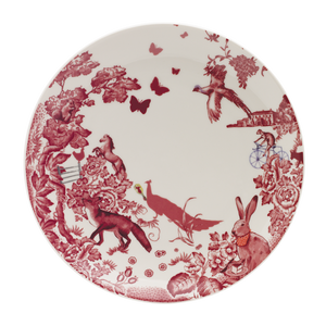 A Curious Toile 27cm Dinner Plate (Red)
