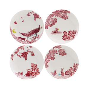 A Curious Toile Set of 4 x 15cm Assorted Side Plate (Red)
