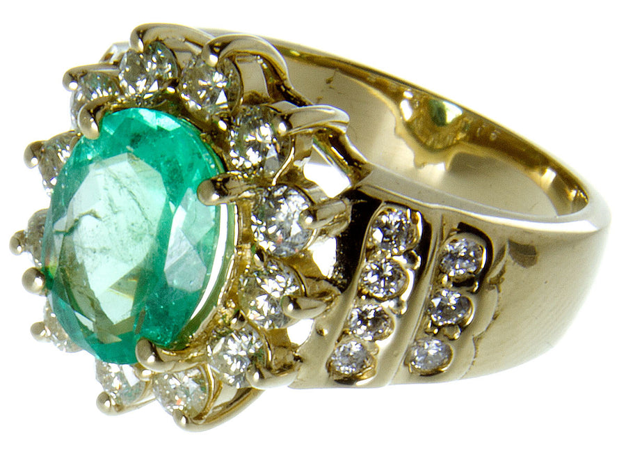 3.92ct Emerald & Diamond Ring - Chicago Pawners & Jewelers