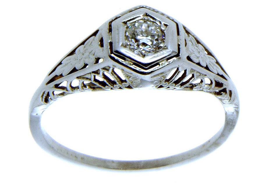18K Art Deco Diamond Solitaire Engagement Ring - Chicago Pawners & Jewelers