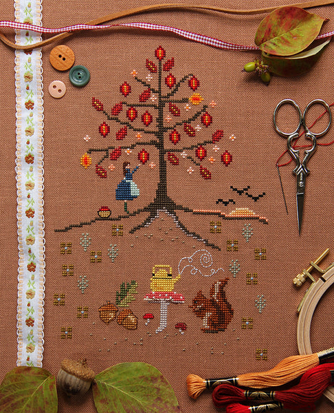 The Leaves by Hundreds Came Cross Stitch Sampler Kit