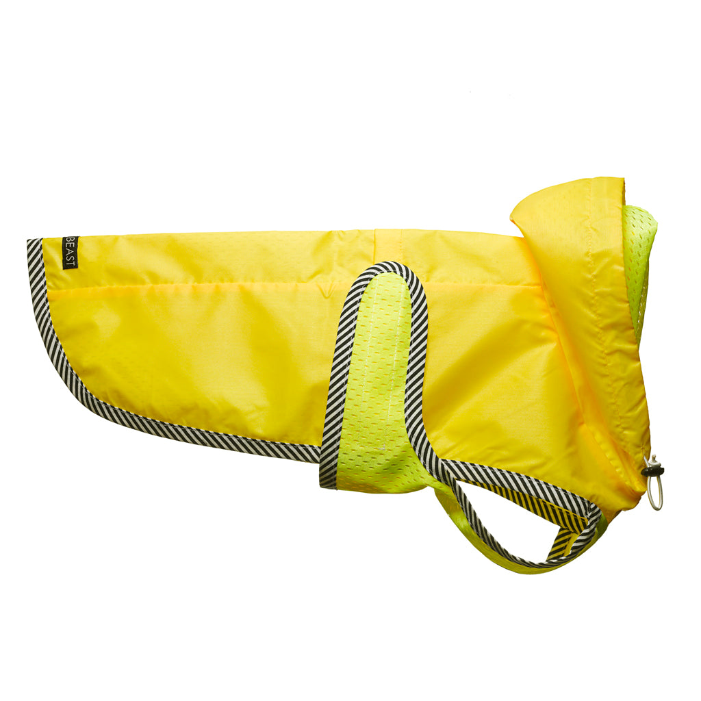Neon Yellow Nylon Rain Jacket with Mesh Lining