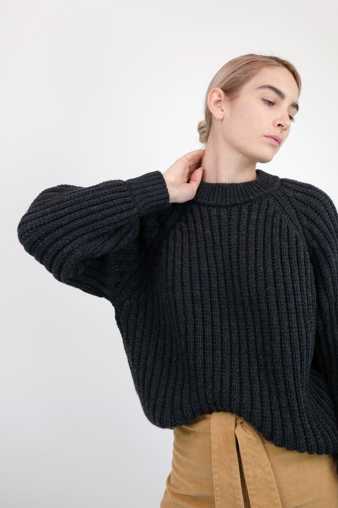 Faded Black Miter Rib Sweater