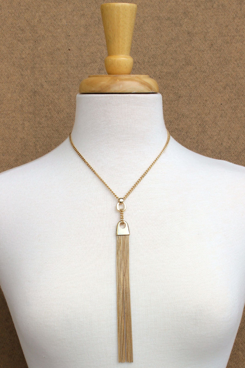 Extra Long Tassel Necklace, Gold
