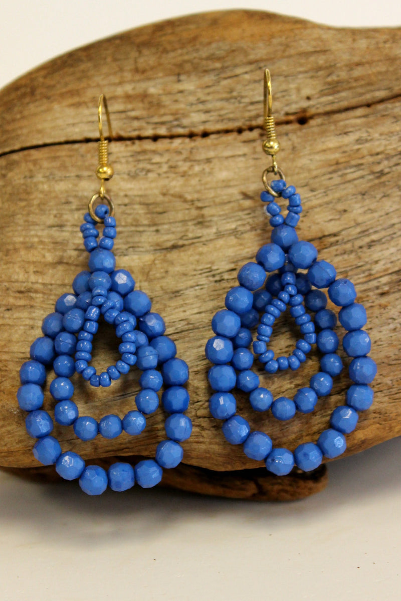 Triple Beaded Teardrop Earrings, Blue