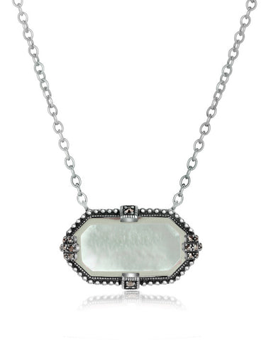 Vintage Inspired Mother of Pearl & Marcasite necklace