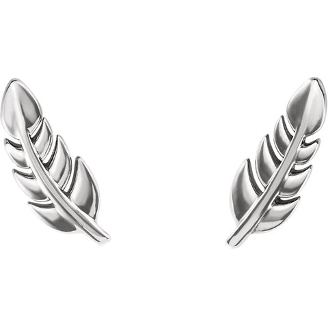Leaf Studs - White gold