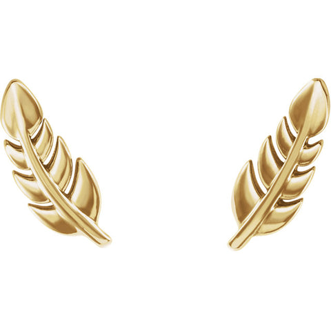 Leaf Studs - Yellow gold