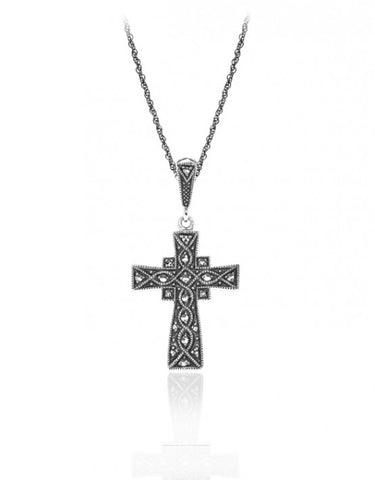 Vintage Inspired Marcasite Cross