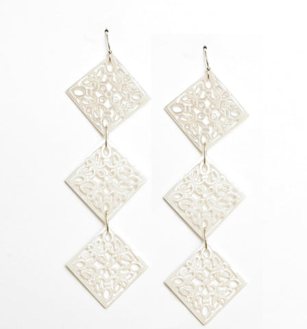 Triple Diamond Shell Earrings
