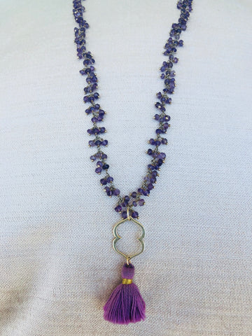 Amethyst Third Eye Chakra Cluster Chain Necklace
