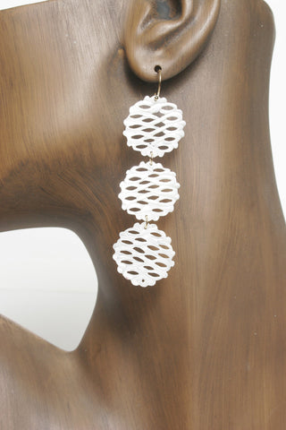 Triple Shell Disc Earrings