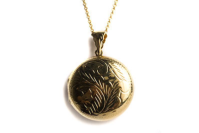Large Etched Round Locket Necklace