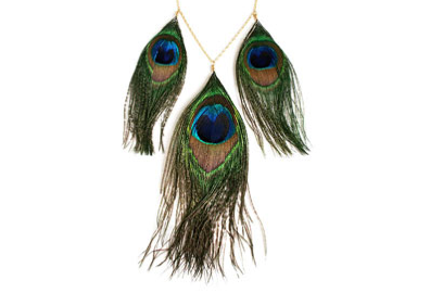 Triple Feather Peacock Necklace