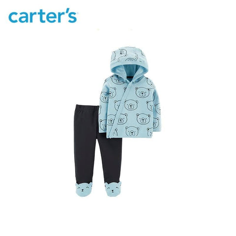 Carters 2-Piece Baby Boy Hoodie Side-Snap Cardigan Footed Pant Set