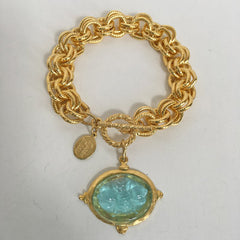 Aqua Venetian Glass Bee Intaglio on Chain Bracelet