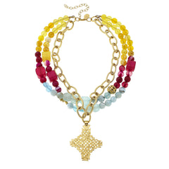 Gold Cross and Multi-Strand Colorful Semi-Precious Stone Necklace