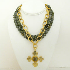 Multi-Strand Genuine Labradorite and Gold Cross Necklace