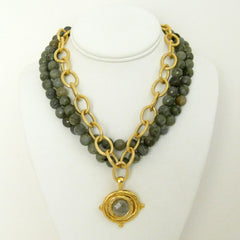 Multi-Strand Genuine Labradorite Necklace
