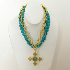 Gold Multi-Strand Turquoise Necklace with Quad Cross Pendant