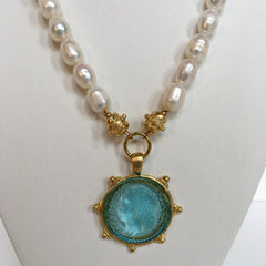 Aqua Venetian Glass Coin Intaglio on Genuine Freshwater Pearl Necklace