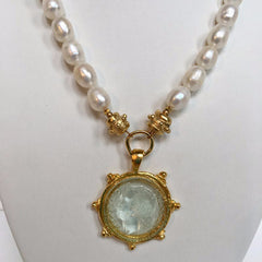 Clear Venetian Glass Coin Intaglio on Genuine Freshwater Pearl Necklace