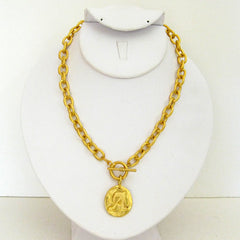 Gold Initial Toggle Necklace