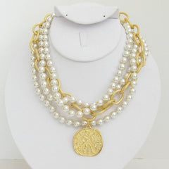 3-Strand Pearl w/Handcast Gold Coin Necklace