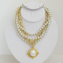 3-strand Pearl w/Cotton Pearl Necklace