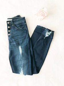 Button Fly Distressed Skinny Jeans