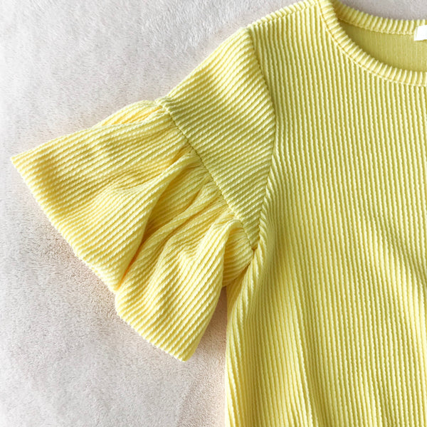 Bubble Sleeve Ribbed Top